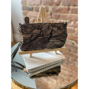 Charlotte Russe Knotted Metallic Fabric Clutch